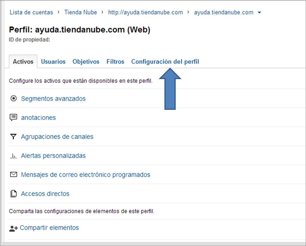 Configura tu perfil de Google Analytics