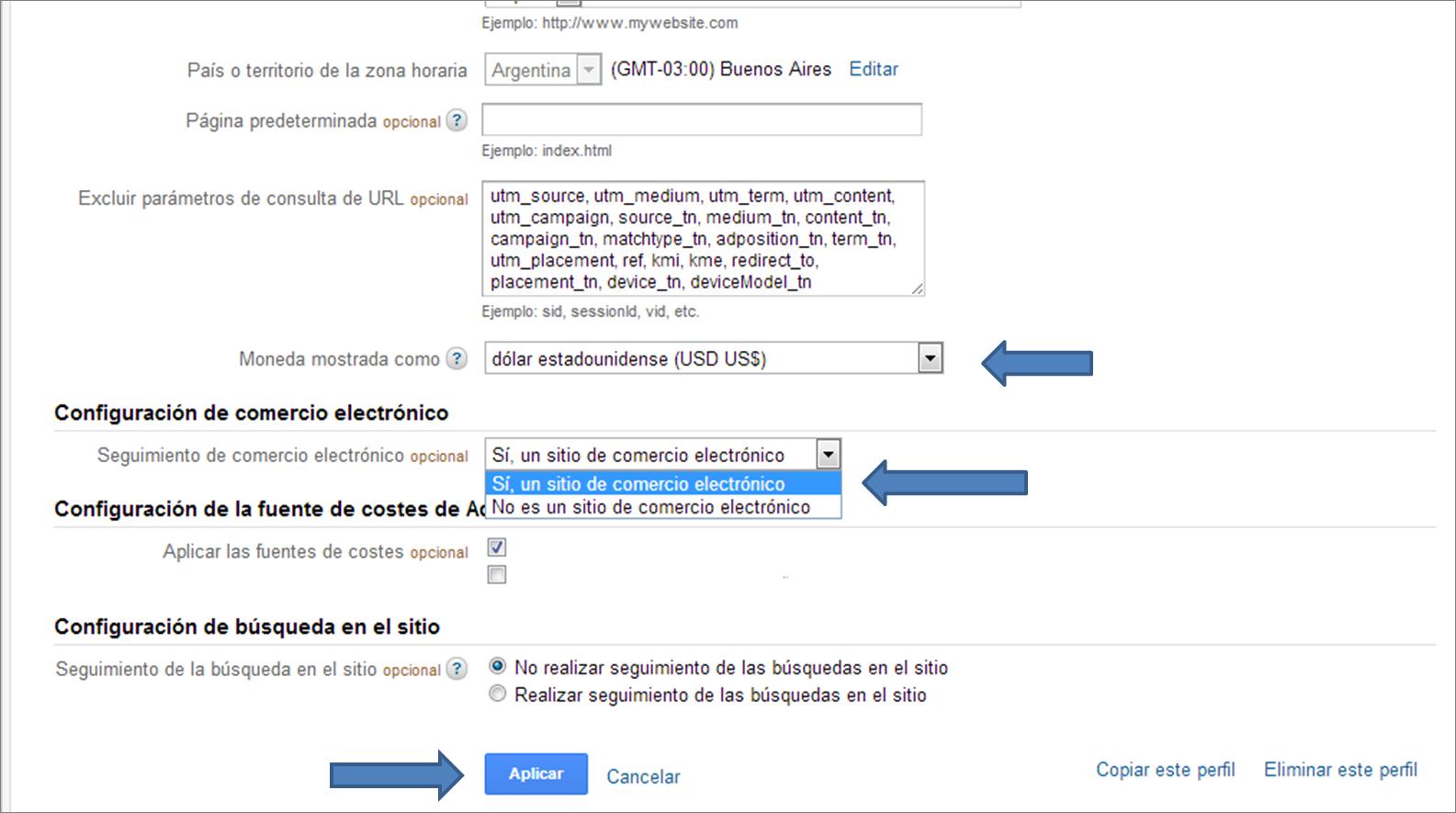 Activar Ecommerce en tu perfil de Google Analytics