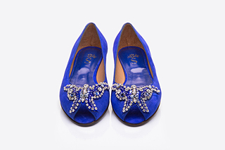 Zapato Tiffany chato azul royale