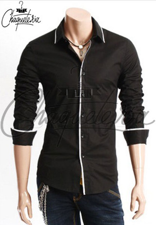 Camisa SLIM FIT; Ref: Are Black - Marca LaChaqueteria