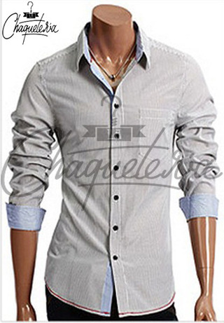 Camisa SLIM FIT; Ref: Ario Striped Black - Marca LaChaqueteria