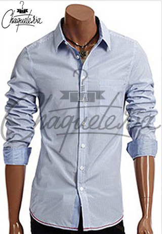 Camisa SLIM FIT; Ref: Ario Striped Blue - Marca LaChaqueteria