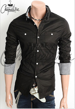 Camisa SLIM FIT; Ref: Patch Black - Marca LaChaqueteria