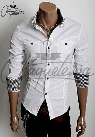 Camisa SLIM FIT; Ref: Patch White - Marca LaChaqueteria