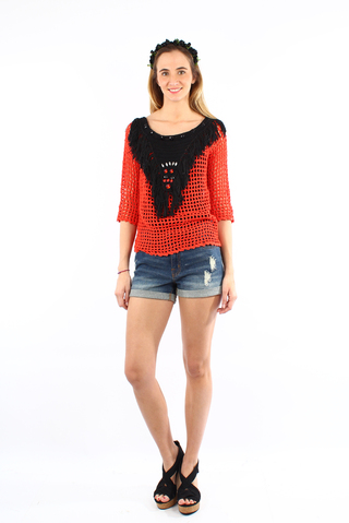 sweater flecos bright rojo y negro