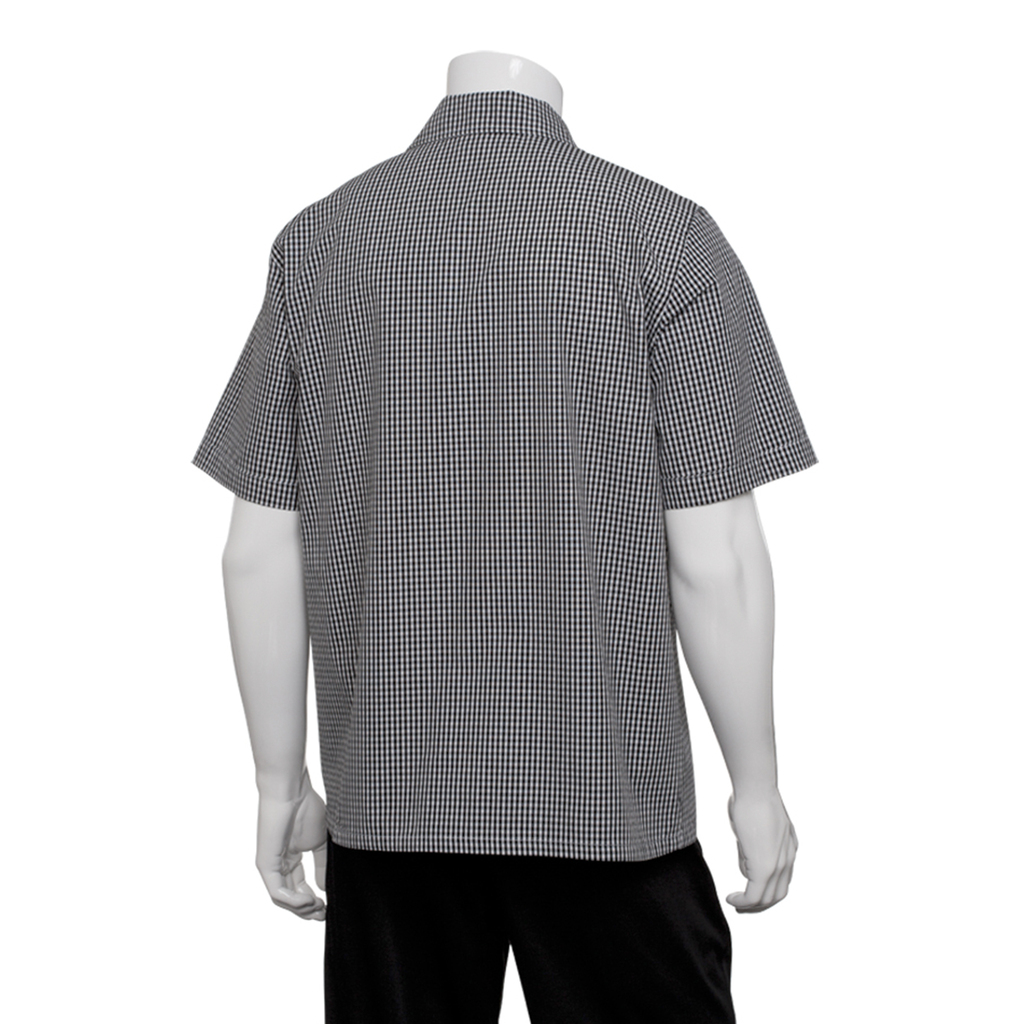 Camisa manga corta a cuadros chef works blanco y negro - Cuadro blanco y negro ...