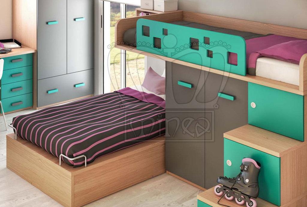 Pin cama cuna funcional mellizos lista con color madera for Cama funcional