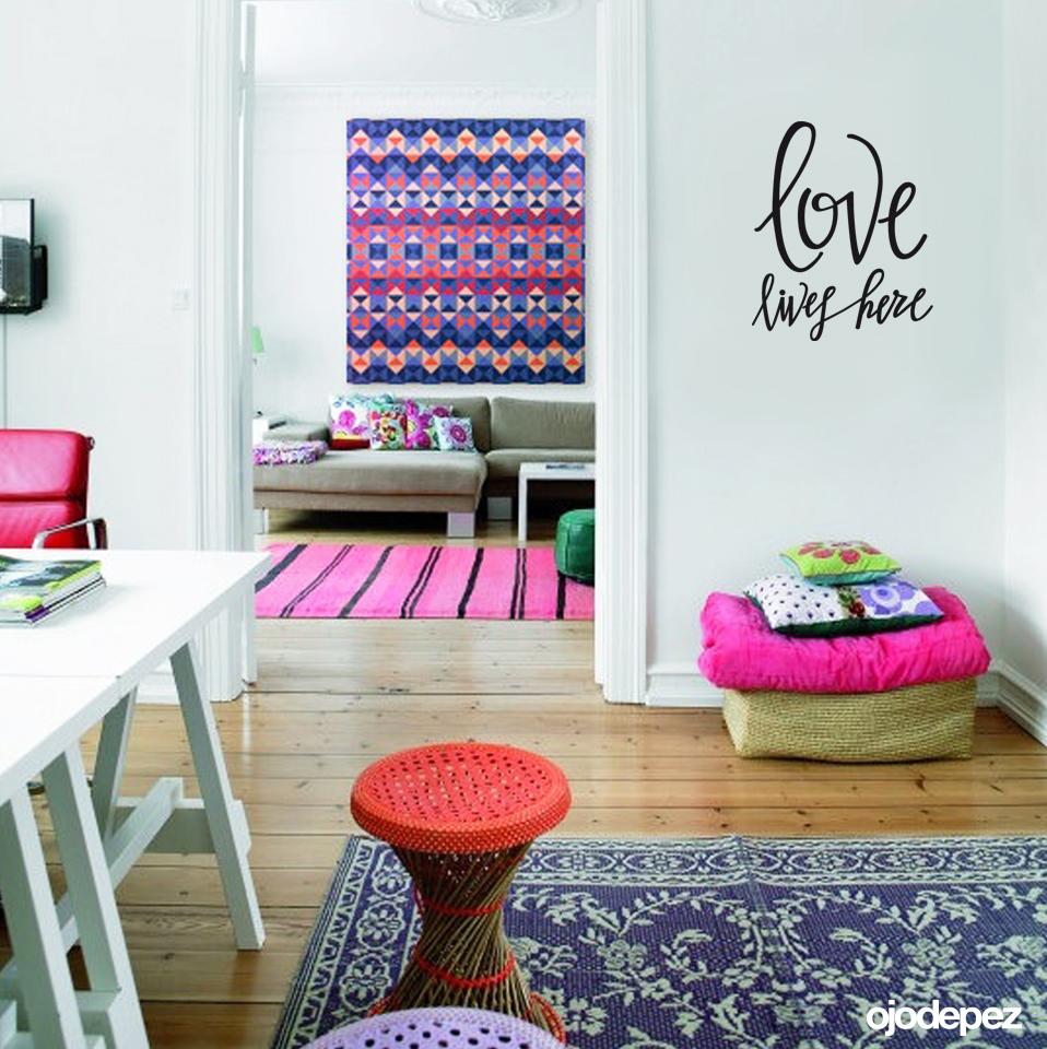 Frase 018 Love Lives Here Ojodepez Vinilos Decorativos